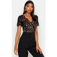 Womens Tall Short Sleeve Eyelash Lace Bodysuit - Black - S, Black