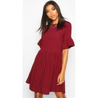 Womens Tall Ribbed Frill Sleeve Smock Dress - red - 14, Red