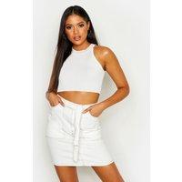 Womens Tall Contrast Stitch Self Belt Denim Skirt - Cream - 14, Cream