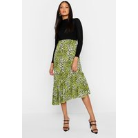 Womens Tall Asymmetric Ruffle Leopard Skirt - green - 8, Green