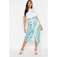 Womens Tall Leopard Print Satin Wrap Midi Skirt - green - 16, Green