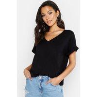 Womens Tall V-Neck Oversized T-Shirt - Black - 6, Black