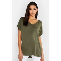 Womens Tall V-Neck Basic T-Shirt - green - 12, Green