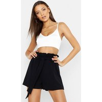 Womens Tall Paperbag Waist Belted Shorts - Black - 10, Black