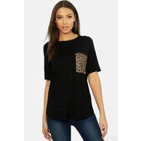Womens Tall Leopard Print Pocket T-shirt - black - 16, Black