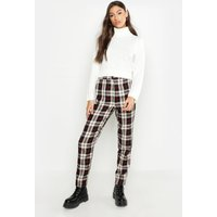 Womens Tall Tartan Tapered Trousers - black - 8, Black