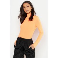 Womens Tall Neon Rib Roll Neck Top - Orange - 6, Orange