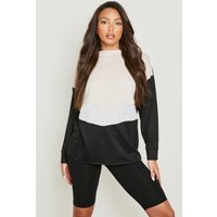 Womens Tall Chevron Colour Block Sweat - black - 14, Black