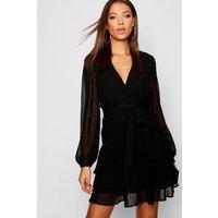 Womens Tall Ruffle Hem Chiffon Mini Dress - black - 10, Black