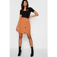 Womens Tall Asymmetric Mixed Button Mini Skirt - beige - 8, Beige