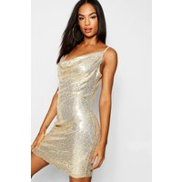 Womens Tall Cowl Neck Sequin Bodycon Dress - metallics - 6, Metallics
