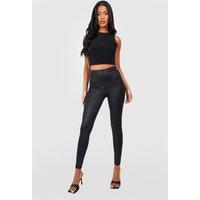Womens Tall Wet Look Leggings - black - 8, Black