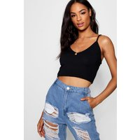 Womens Tall Ribbed V Neck Crop - black - 14, Black