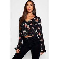 Womens Tall Ditsy Floral Wrap Ruffle Blouse - black - 14, Black