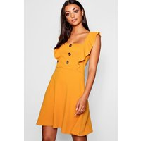 Womens Tall Horn Button Detail Skater Dress - yellow - 10, Yellow