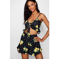 Womens Tall Ruby Lemon Print Tie Front Crop Top - yellow - 14, Yellow