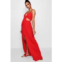 Womens Tall Tie Front Top And Maxi Skirt Co-Ord - Red - 10, Red