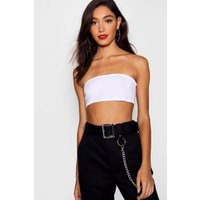 Womens Tall Basic Cropped Bandeau - White - 6, White