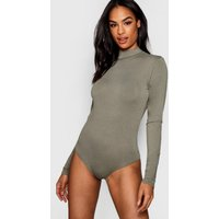 Womens Tall roll/polo neck Long Sleeve Bodysuit - green - 16, Green