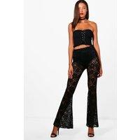 Sophia Flared Hot Pant Trousers - black