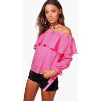 Sarah Frill Woven Blouse - pink