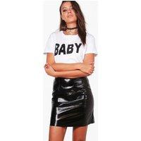 Taura Vinyl A Line Mini Skirt - black
