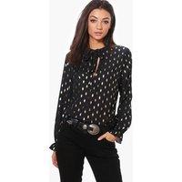 Maella Metallic Tie Neck Woven Blouse - black