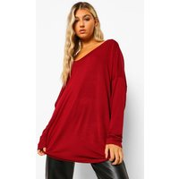 Womens Tall Oversized Long Sleeve Top - Red - 8, Red