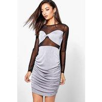 Romi Mesh Insert Midi Dress - silver