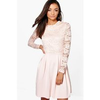 Womens Tall Lace Panel Skater Dress - Beige - 8, Beige
