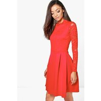Womens Tall Lace Panel Skater Dress - red - 16, Red