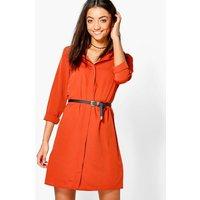 Gemma Oversized Shirt Dress - rust