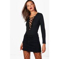 Maisie Ribbed Lace Up Bodysuit - black