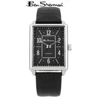 gents ben sherman black leather watch