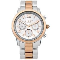 lipsy  ladies silver/rose gold coloured bracelet watch with silver dial