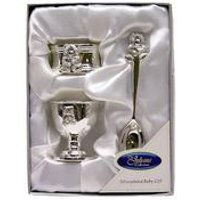 Silver Plated Teddy Egg Cup, Napkin Ring And Spoon Set