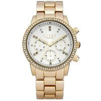 lipsy ladies gold tone bracelet watch with white dial