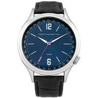 french connection gents cromwell leather strap watch with blue dial