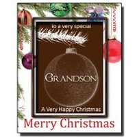 Christmas Chocolate Bauble Card with Name: Grandson