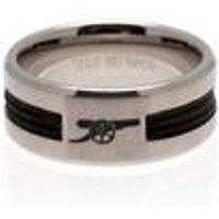 Arsenal FC Stainless Steel Black Inlay Ring