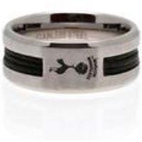 Tottenham Hotspur Football Club Stainless Steel Black Inlay Crest Ring
