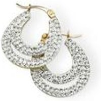 9ct Gold Crystal Double Creole Earrings