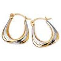 9ct Two Tone Creole Earrings