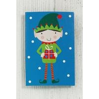 Blue Elf Christmas Gift Tag