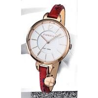 fiorelli ladies red leather strap watch with white dial