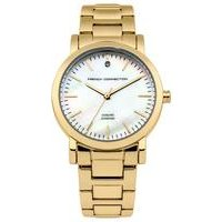 french connection ladies gold bracelet watch with mop dial