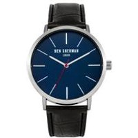 ben sherman black leather strap watch with blue dial