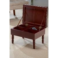 Storage Footstool with Faux Leather Top