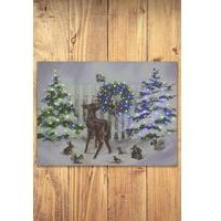 Lit Deer And Trees Festive Canvas
