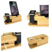apple watch bamboo charging stand with iphone dock
